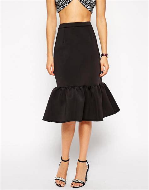 asos asos premium pencil skirt in scuba with peplum hem