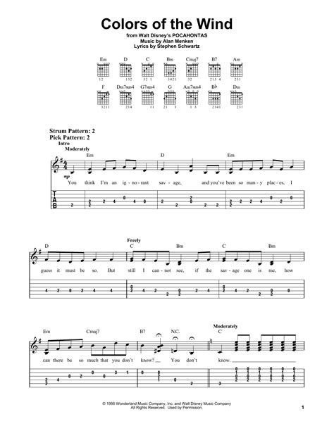 colors of the wind chords colors of the wind by williams easy guitar tab
