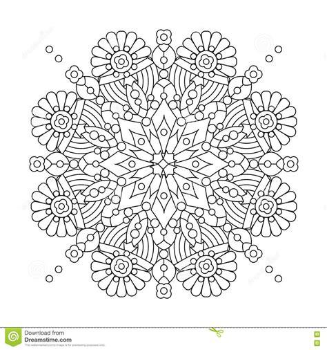 snowflake design coloring page mandala or whimsical snowflake line art design vector