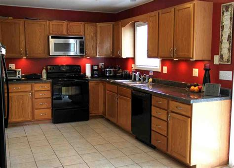 red kitchen walls with oak cabinets red wall room plus light brown wooden cabinet plus gray