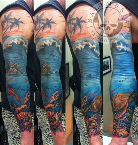 wave underwater sleeve balinesia tattoo