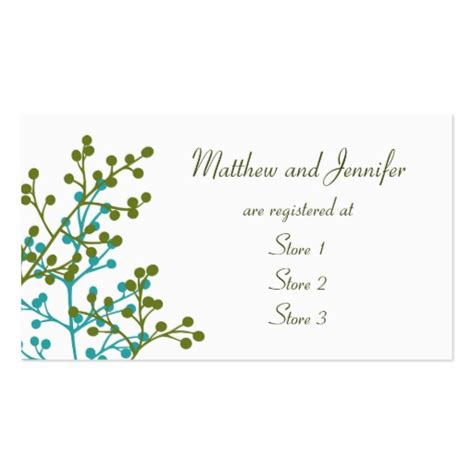 Wedding Registry Gift Cards - custom wedding gift registry cards double sided standard business cards pack of 100