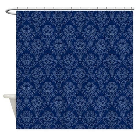 dark blue shower curtain dark blue retro floral shower curtain by stircrazy