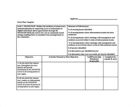 work plan template 13 download free documents for word