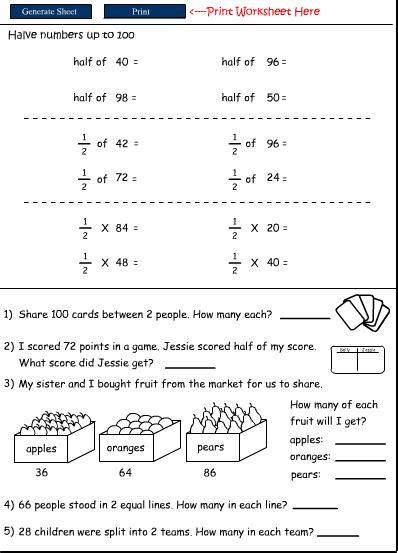 printable worksheets for halving numbers halving numbers mathematics skills online interactive