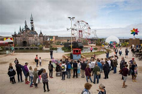 theme park near bristol people found banksy again this time as a dismaland