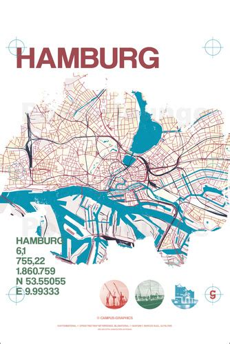Vintage Poster 40x40cm Motif Kayu 27 cus graphics hamburg city motif map poster posterlounge