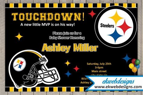 Steelers Baby Shower Ideas by Custom Pittsburgh Steelers Baby Shower Invitations