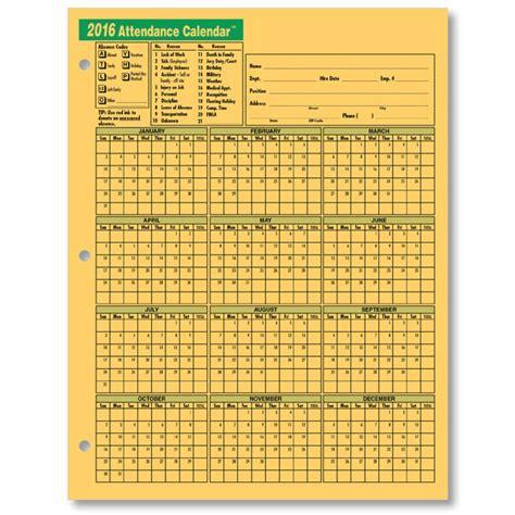 2017 Attendance Calendar Printable