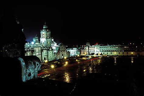 zocalo night mexico mexico city national cathedral and zocalo at
