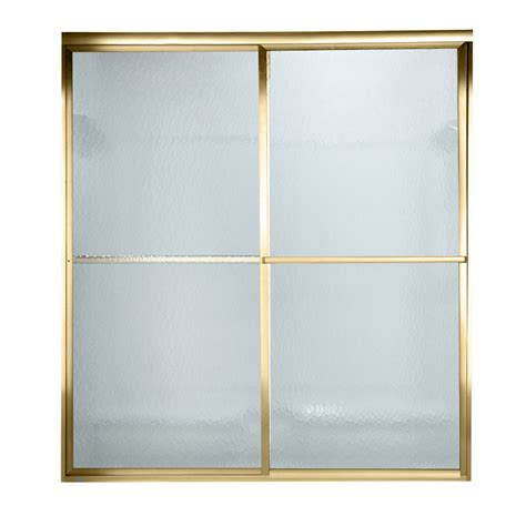 Polished Brass Shower Doors Shop American Standard Prestige 40 In To 42 In W X 68 In H Polished Brass Sliding Shower Door At
