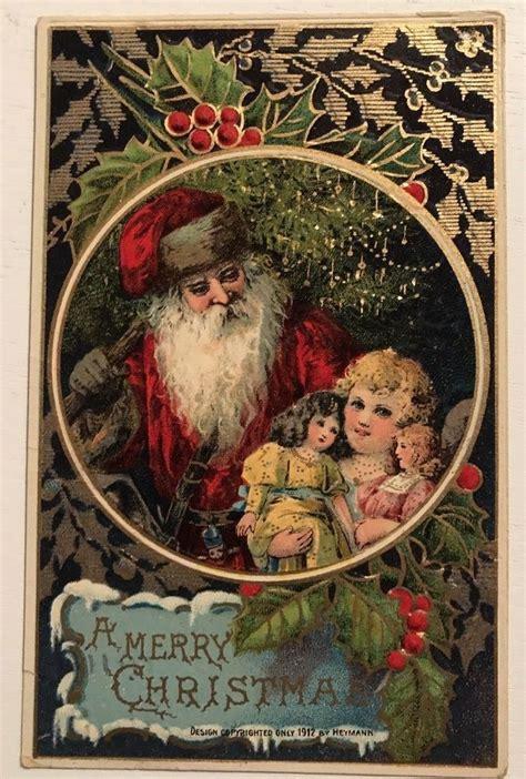 santa claus  girl  dolls antique gel emboss christmas postcard  christmas