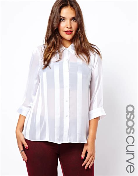 Stripe Collar Blouse Asos Curve Blouse With Folded Collar And Self Stripe In