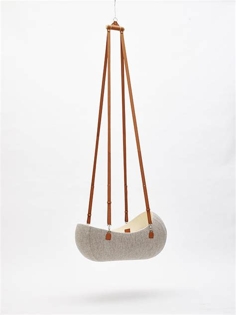 design milk bassinet a hanging felt cradle inspired by the womb design milk