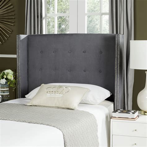 velvet tufted headboard grey keegan grey velvet tufted winged headboard silver nail