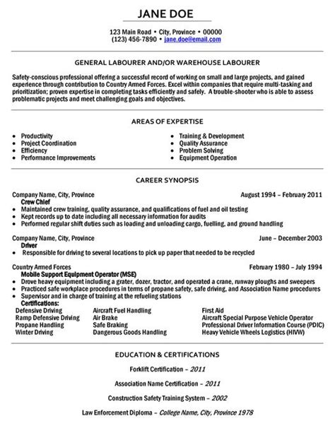 click here to this general labourer resume sle