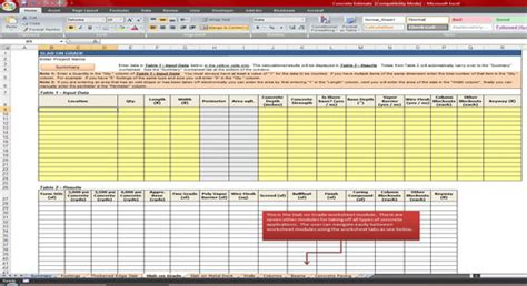 concrete estimate template construction cost estimating march 2014