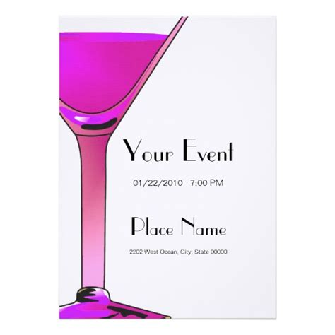 pink martini cocktails invitation template 5 quot x 7