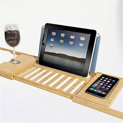 bamboo bathtub caddy tray tablet smartphone cup book