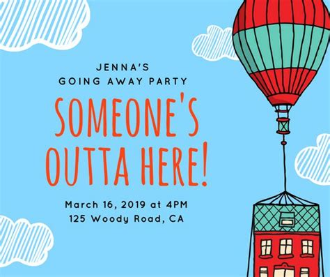 Blue Hot Air Balloon Going Away Party Facebook Post Templates By Canva Going Away Flyer Template Free