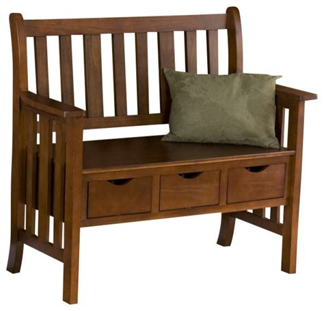 country benches indoor southern enterprises 3 drawer country bench in oak finish
