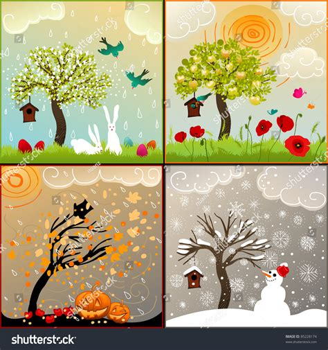 calendar design ideas ks2 four seasons set tree birdhouse birds stock illustration