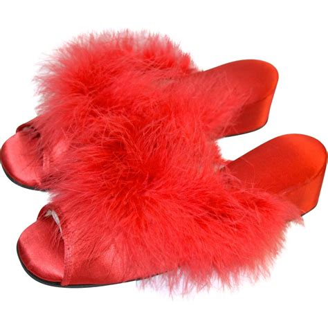 maribou slippers 1950s golden step marabou satin wedge heel