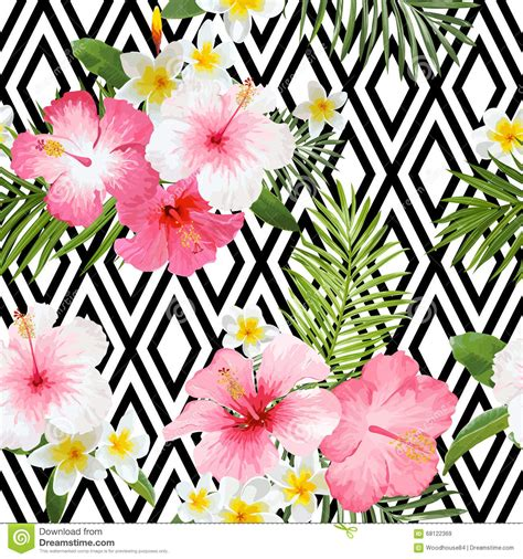 tropical flowers and leaves geometric background stock