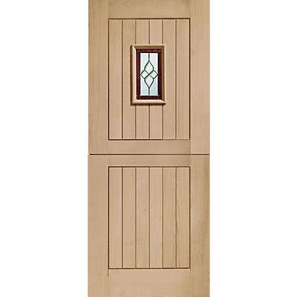 Homebase Exterior Doors 4 Panel Oak Veneer Door 726mm Wide