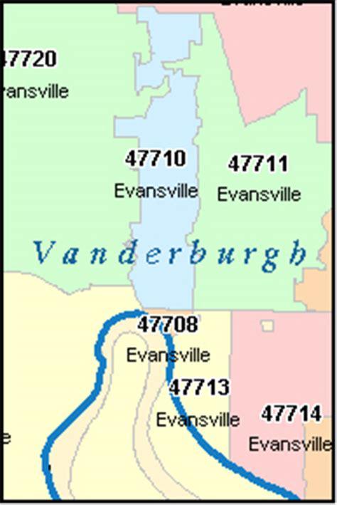 Zip Code Map Evansville In   vanderburgh county indiana digital zip code map