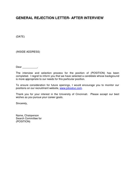 Rejection Letter Template After Best Photos Of Sle Rejection Letter Offer Rejection Letter Sle Applicant