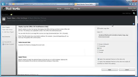 office 365 themes black mamba configuring a logo in black mamba for office 365 youtube