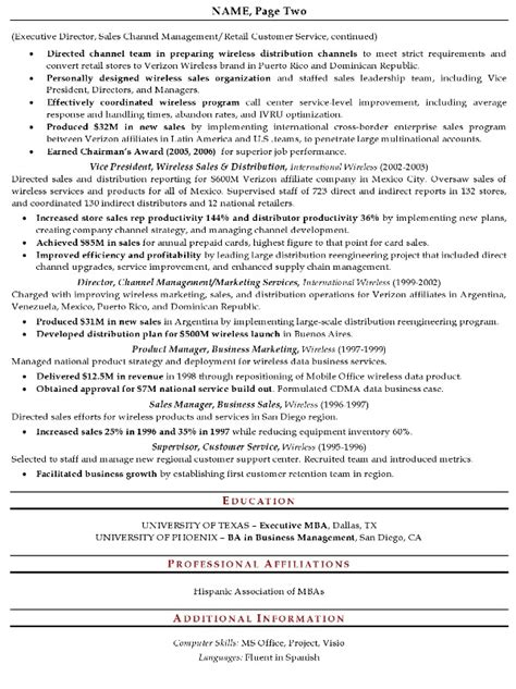 2 page resume format sles resume sle 16 senior sales executive resume career
