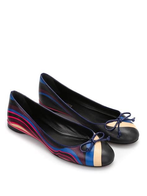 printed flat shoes printed leather flat shoes by emilio pucci flat shoes