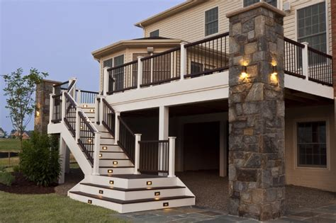 Trading Spaces Cast by Composite Deck And Staircase With Stone Pillar
