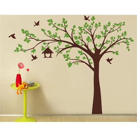 big tree wall sticker pop decors big tree with birds wall decal reviews