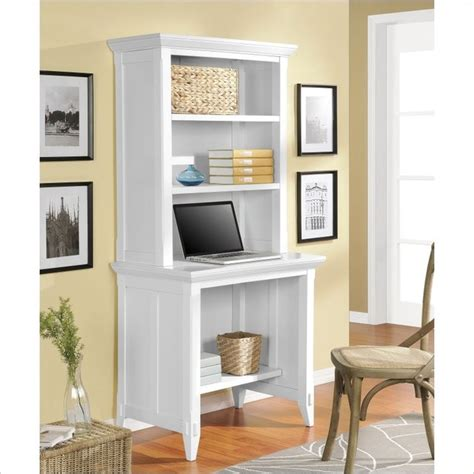 Desk With Small Hutch Altra Furniture Amelia Desk With Hutch In White Traditional Desks And Hutches Other Metro