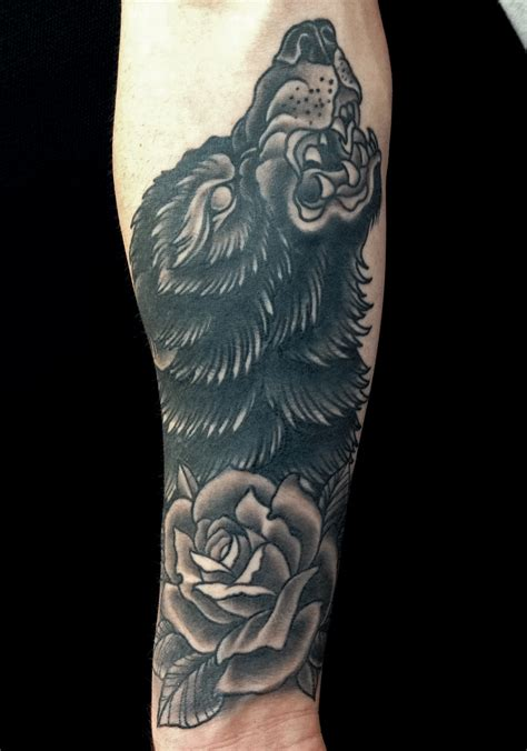 black tattoo grey healing mark lonsdale tattoo sydney bondi wolf rose howling