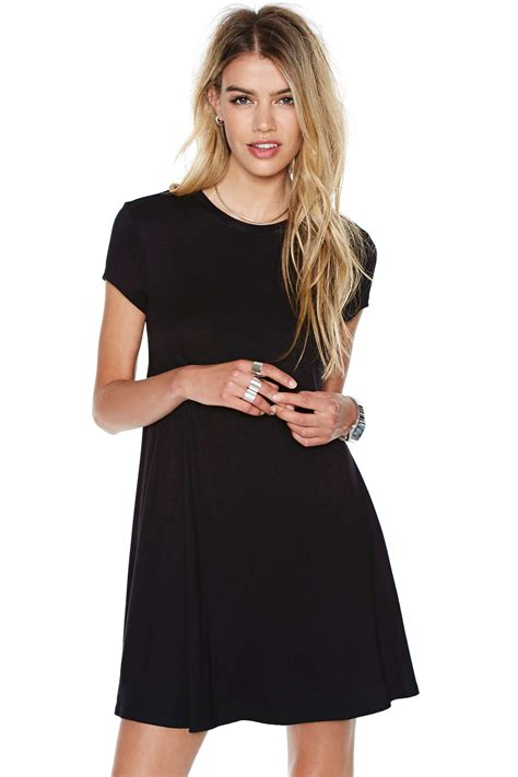 swing shirt dress black short sleeve shirt cut swing dress shein sheinside