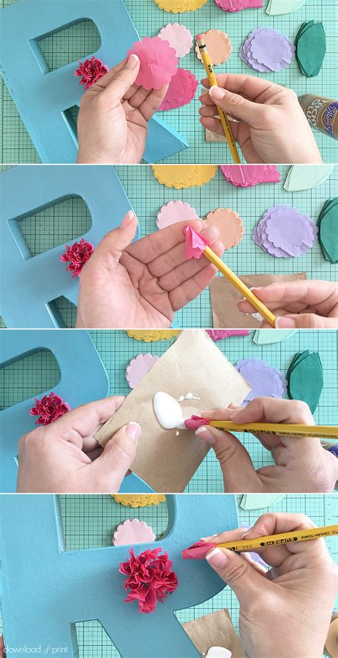 How To Make Small Flowers Out Of Tissue Paper - diy tissue paper flower letters the budget savvy
