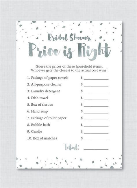 price is right bridal shower template free price is right bridal shower template free