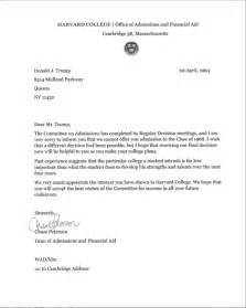 Thank You Letter For Harvard Revealed Donald S Harvard Rejection Letter From 1964