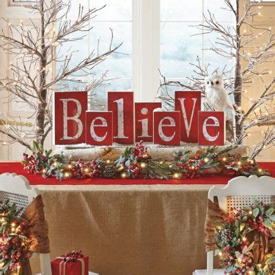 believe holiday decoration entry tables design and wood blocks on