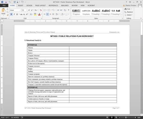 public relations plan worksheet template