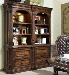 Bookshelves Furniture Traditional Bookcase With 6 Shelves And 4 Drawers By