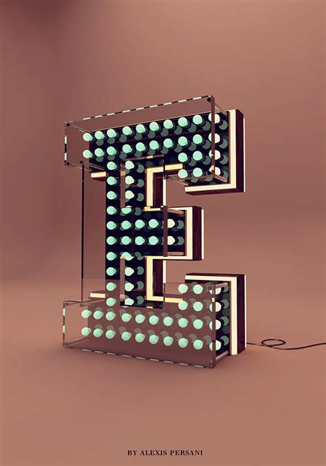 letter e typography creative alphabet 3d typography inspiration by persani