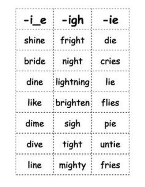 words by pattern here is a list of words with the long i sound that kids
