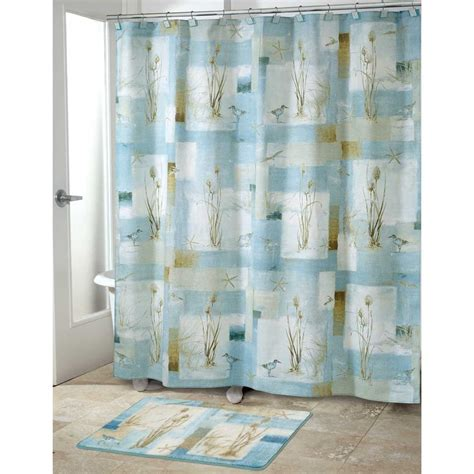 bathroom curtains sets blue waters bath set 5 piece coastal nautical decor shower curtain rug ebay