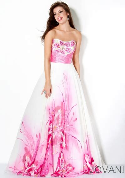 pink and white dress jovani white and pink floral empire prom dress 30015