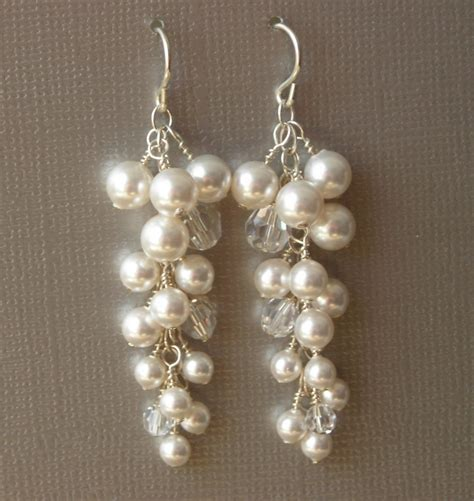 Handcrafted Bridal Jewelry - beadweaving woven swarovski earrings handcrafted beaded